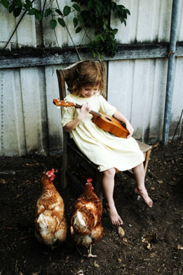 Girl playing guitar to hens.