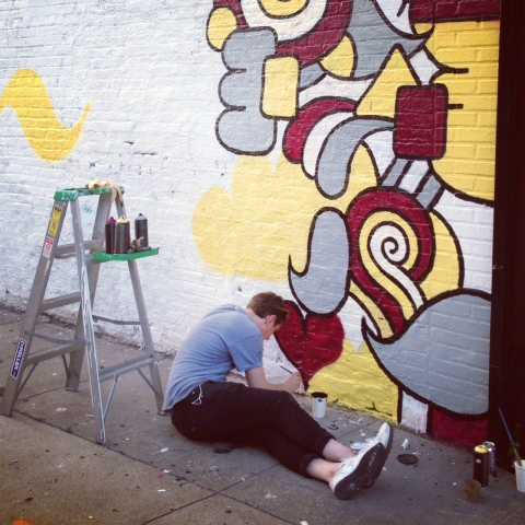 Artist at work in Williamsburg.